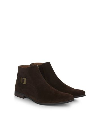 Brown Suedette Buckle Side Chelsea Boots