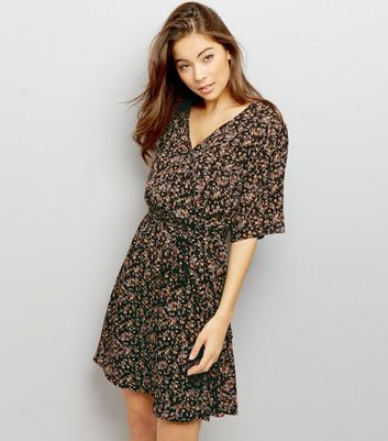 Black Ditsy Floral Print Wrap Dress