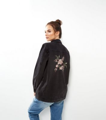 Black Foral Embroidered Shacket