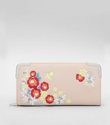 Cream Floral Embroidered Zip Around Purse