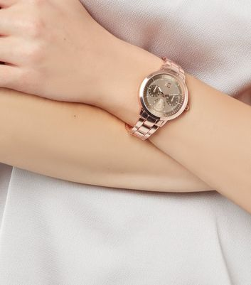 Rose Gold Metallic Sports Watch
