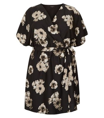 Curves Black Floral Print Wrap Dress