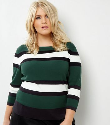 Curves Green Block Stripe 3/4 Sleeve Jumper