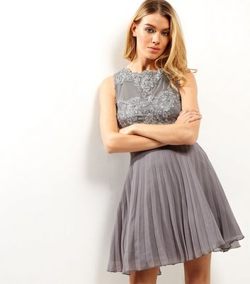 AX Paris Grey Crochet Lace Panel Skater Dress