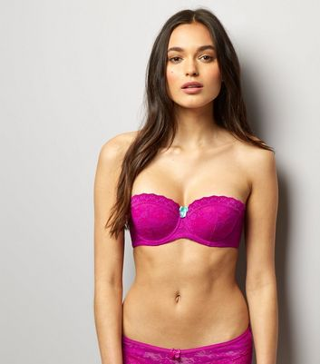 Bright Pink Lace Strapless Bra