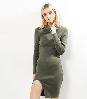 Petite Olive Green Ribbed Funnel Neck Side Split Dress