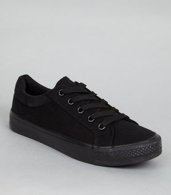 Teens Black Platform School Plimsolls