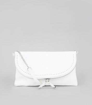 White Studded Zip Clutch Bag