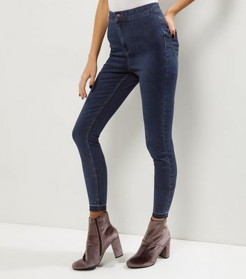 Tall Blue High Waisted Skinny Jeans