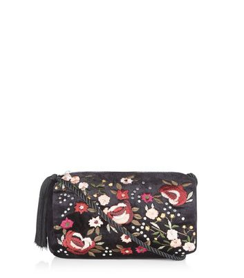 Black Floral Embroidered Across Body Bag
