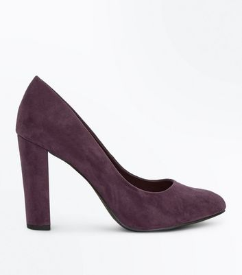 Wide Fit Purple Suedette Block Heel Courts