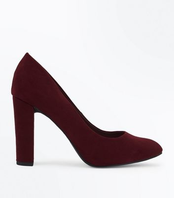 Wide Fit Burgundy Suedette Block Heel Courts