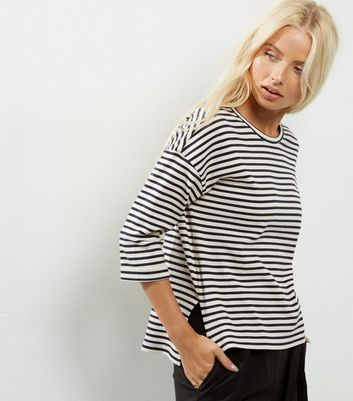 Black Stripe Print 3/4 Sleeve Top