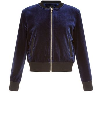 Girls Navy Velvet Bomber Jacket