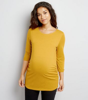 Maternity Yellow 3/4 Sleeve Top