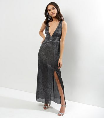 Petite Silver Metallic Pleated Plunge V Neck Maxi Dress