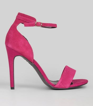 Pink Suede Ankle Strap Heeled Sandals