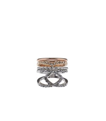 Silver and Rose Gold Layered Diamante Ring Stack
