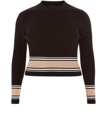 Curves Black Stripe Trim Long Sleeve Top