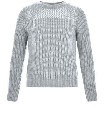 Girls Grey Mesh Panel Ribbed Jumper
