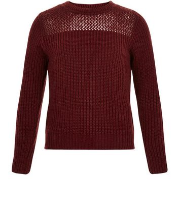 Girls Burgundy Mesh Panel Ribbed Jumper