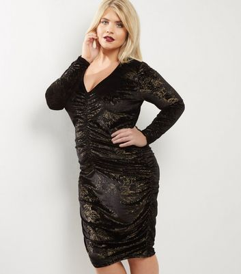 Curves Black Velvet Gold Foil Ruched Front Bodycon Dress