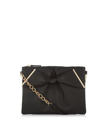 Black Leather-Look Bow Clutch
