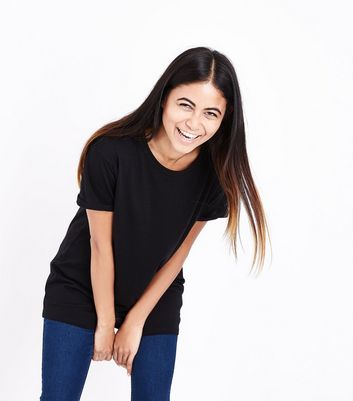 Tall Black Rolled Sleeve Boyfriend T-shirt