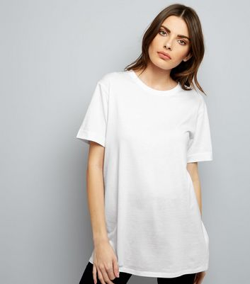Tall White Rolled Sleeve Boyfriend T-shirt