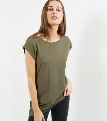 Tall Olive Green Rolled Sleeve Boyfriend T-shirt