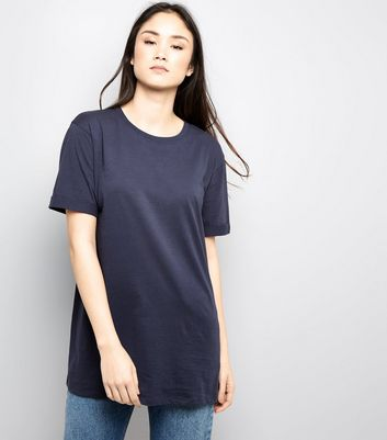Tall Navy Rolled Sleeve Boyfriend T-shirt