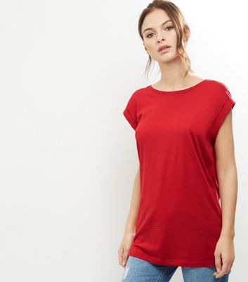Tall Red Rolled Sleeve Boyfriend T-shirt