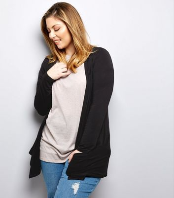 Curves Black Boyfriend Cardigan