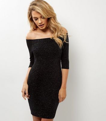 Navy Glitter Bardot Neck 3/4 Sleeve Bodycon Dress