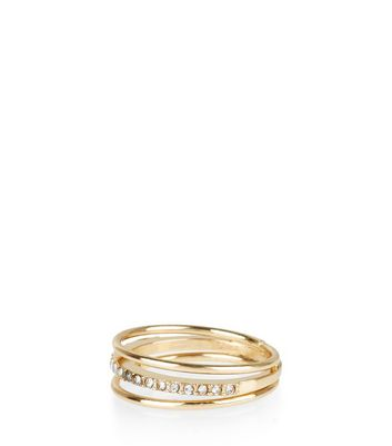 Gold Diamanté Layered Ring