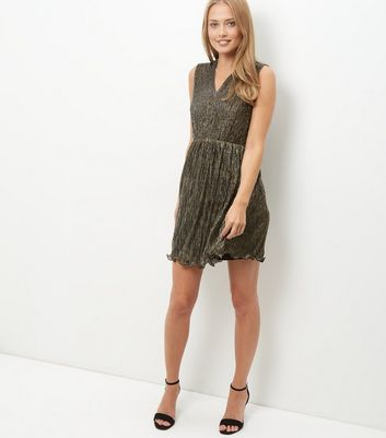 Mela Bronze Shimmer Frill Hem Pleated Dress