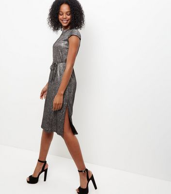 Mela Silver Cap Sleeve Shimmer Midi Dress