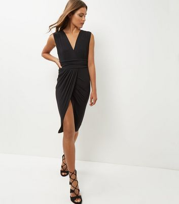 Mela Black Wrap Front Dress
