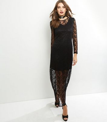 Mela Black Lace Floral Overlay Maxi Dress