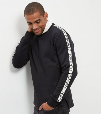 Black Toronto Print Tape Sleeve Sweater