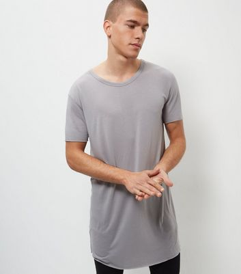 T-shirt gris ultra-long