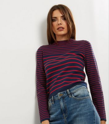 Navy Stripe Funnel Neck Jumper