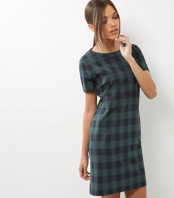 Robe tunique verte à carreaux