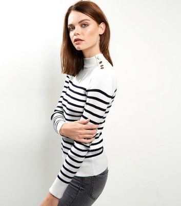 White Stripe Ribbed Button Trim Jumper