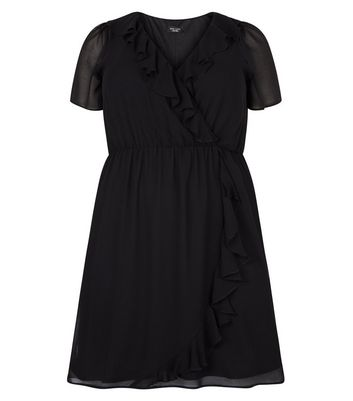 Curves Black Frill Trim Wrap Front Dress