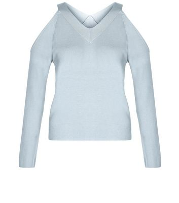 Teens Pale Blue V Neck Cold Shoulder Jumper