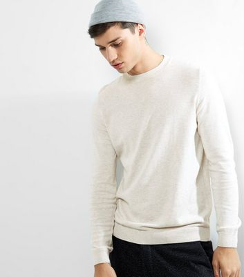 Oatmeal Cotton Crew Neck Jumper