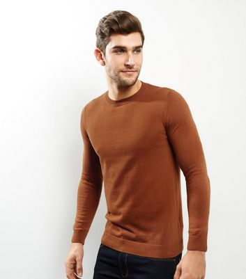 Tan Cotton Crew Neck Jumper