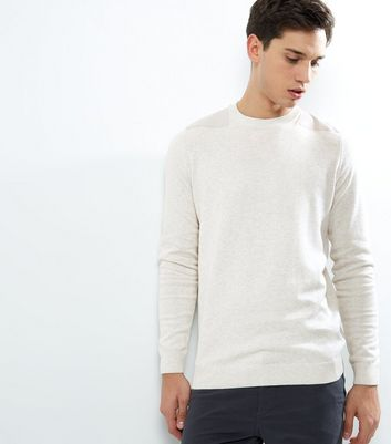 Cream Shoulder Patch Crew Neck Jumper