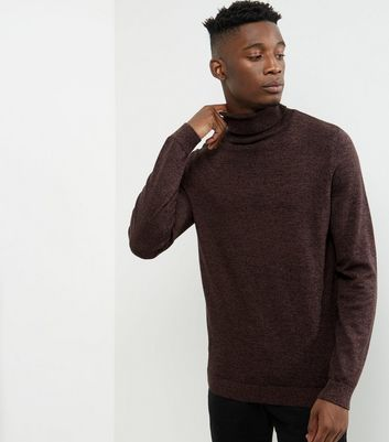 Dark Purple Cotton Roll Neck Jumper